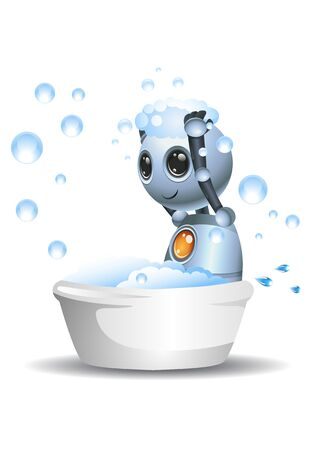 3D illustration of a little robot sit on bath up taking shower on isolated white background