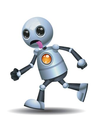3D illustration of a little robot running while stick it tounge on isolated white background