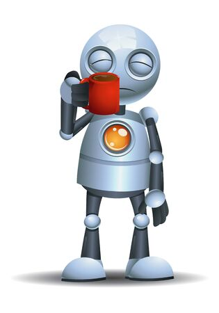 3D illustration of a little robot hold a beverages while half a sleep on isolated white background