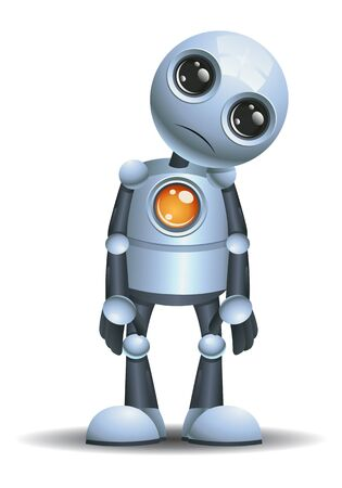 3D illustration of a little robot confused try to understand on isolated white background