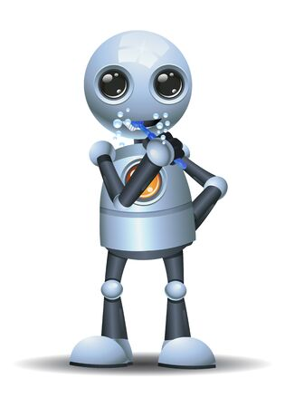 3D illustration of a little robot brushing teeth on isolated white background Banco de Imagens
