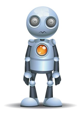 3D illustration of a little robot being hypnotize on isolated white background