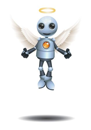 3D illustration of a little robot become an angel on isolated white background Banco de Imagens