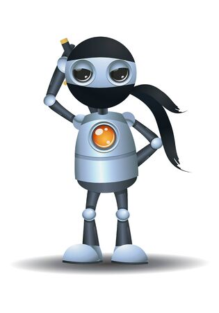 3D illustration of a little robot  being a ninja on isolated white background