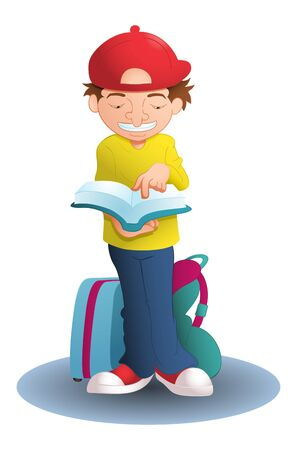 illustration of a boy reading guiding book for traveling on isolated white Imagens