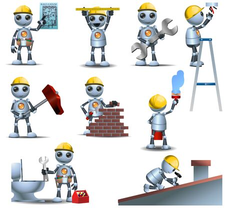 Little robot handy robot man working on isolated on white