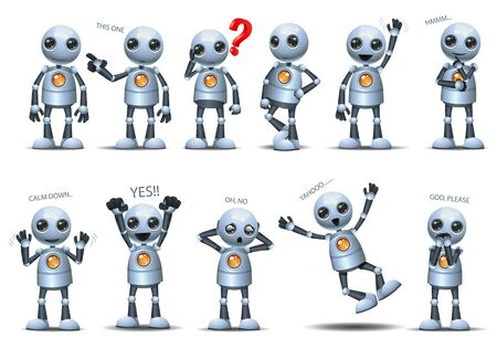 Little robot  set representing basic posture gesture on happy isolated white