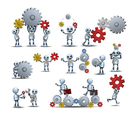 Little robot  handy robot  man working figure cog wheel construction engineer interacting coworkers teamwork on isolated white
