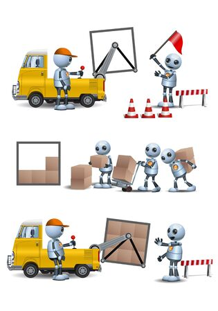 Little robot  handy robot  man working lifting and storage on isolated white