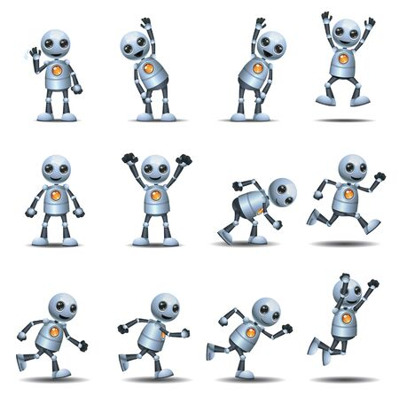 Little robot active lifestyle and vitality set on isolated white