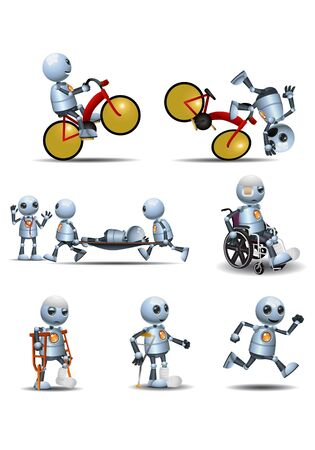 Little robot bike accident recovery on isolated white