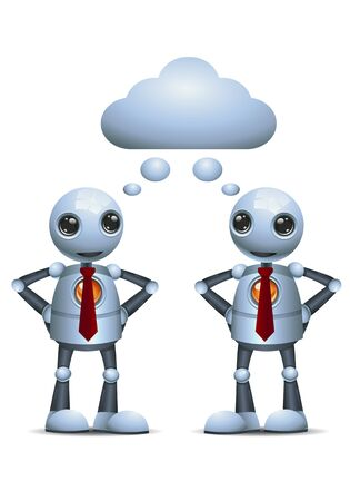 3d illustration of two little robot business sharing thought on isolated white background