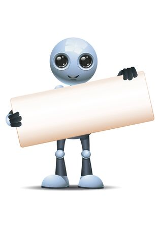 Little robot hold wide blank sign communication in front on isolated white Stock Photo