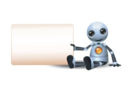 3d illustration of little robot hold wide blank sign communication while sit besides it on isolated white background