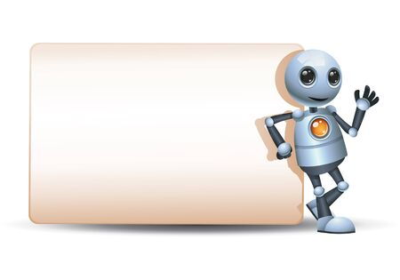 3d illustration of little robot lean back big blank sign communication on isolated white background 스톡 콘텐츠