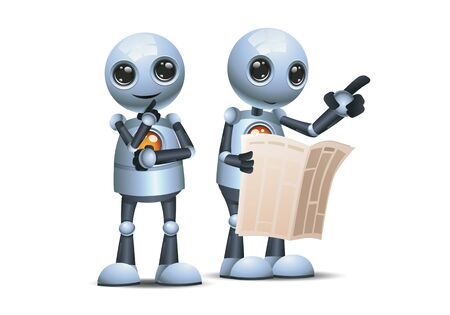 3d illustration of two little robot hold pamflet pointing in one direction communication on isolated white background 스톡 콘텐츠