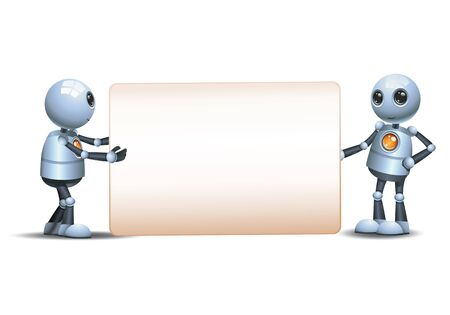 3d illustration of two little robot hold wide blank sign communication on isolated white background 스톡 콘텐츠