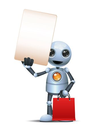Little robot hold blank sign while carry shopping bag on isolated white Stock Photo