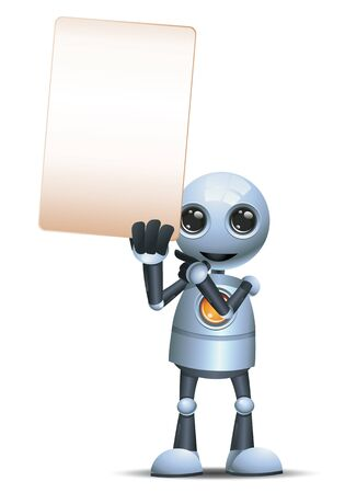 Little robot hold up blank sign communication on isolated white