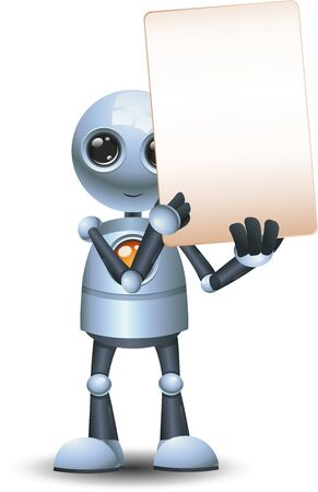 3d illustration of  little robot peek and hold blank sign communication on isolated white background
