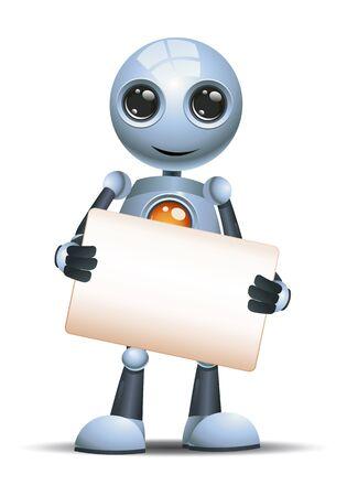 Little robot hold blank sign communication on chest on isolated white Reklamní fotografie
