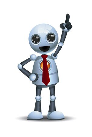 3d illustration of little robot business pointing finger to sky on isolated white background
