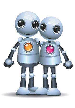 Little robot couple hug each other on isolated white