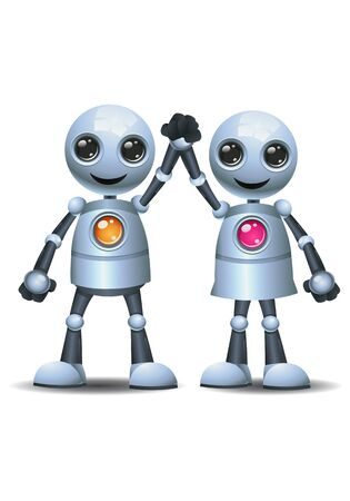 Little robot couple holding hand rise hand on isolated white