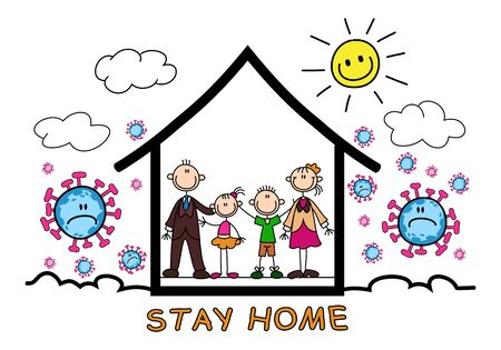 Healthy lifestyle family stay at home for health