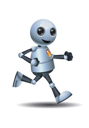 3d illustration of little robot runner in relax mood on isolated white background Reklamní fotografie
