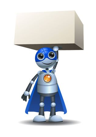 A little robot strong super hero extraordinary character on isolated white Stock Photo