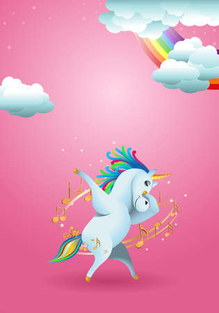 illustration of cute  unicorn swag pose surrounded by music note on rainbow fantasy fairy tale background