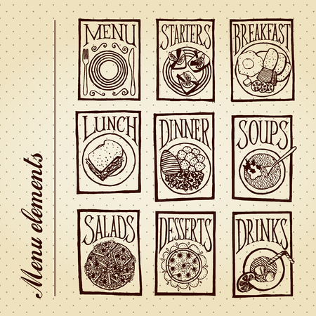 Menu elements - meals Vector