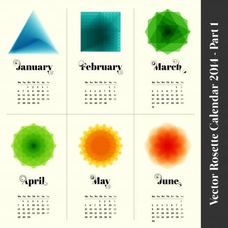 escarapelas: Calendario 2014 con rosetas colorido, 6 meses, parte 1 Vectores