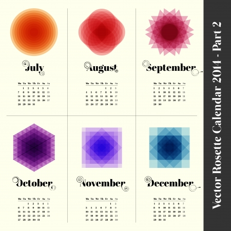colorfull: Calendar 2014 with colorfull rosettes, 6 months, part 2