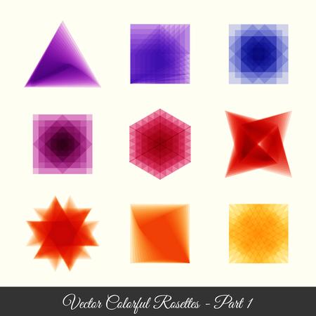 rosettes: 9 colorfull geometric rosettes part 1