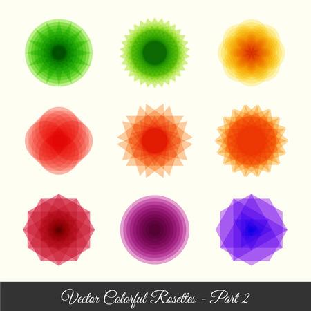 escarapelas: 9 rosetas geométricas colorfull parte 2 Vectores