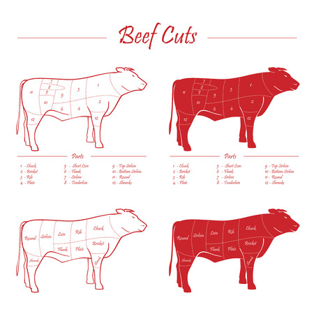 BEEF cuts red Vector
