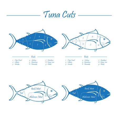 bluefin tuna: TUNA cuts - blue on white