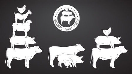 Animals Pyramide, natural, farm, fresh on blackboard Vector