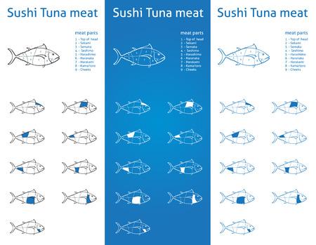 atun rojo: Partes de la carne del atún Sushi Iconos para el envasado y el info-gráfico 2