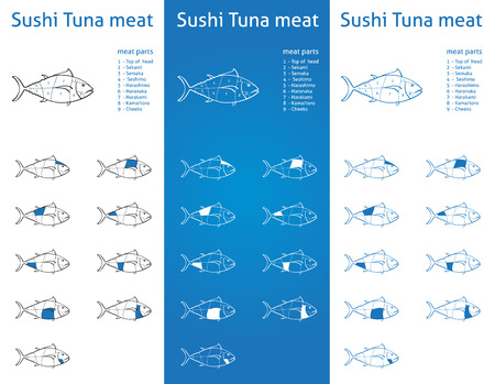 fish type:  Sushi Tuna meat parts Icons for packaging and info-graphic 2