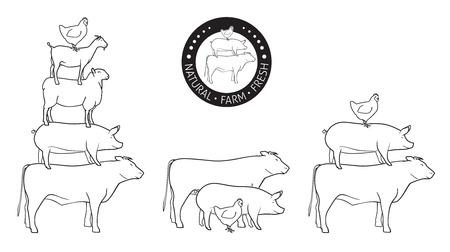 Animals Pyramide, natural, farm, fresh Vector