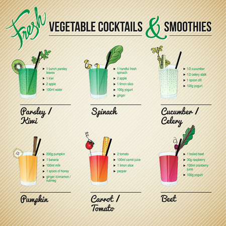 smoothie: FRESH VEGETABLE COCKTAILS SMOOTHIES drink set