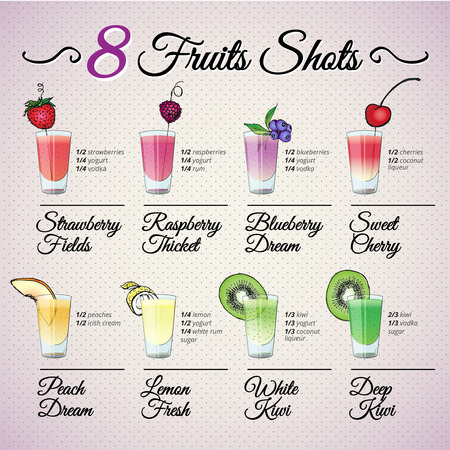 FRESH FRUIT SHOTS SET with fruit decoration Vector