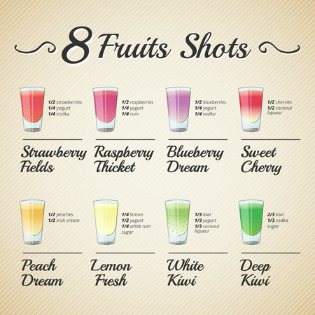 fruit smoothie: FRESH FRUIT SHOTS SET Illustration