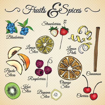 Fruits and spices drawings set for different usage