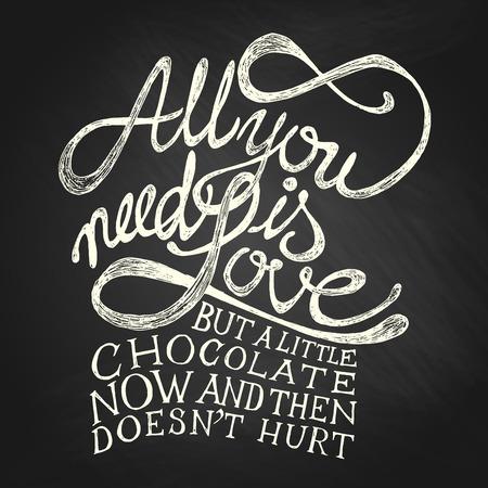 chocolate caliente: Todo lo que usted necesita es amor - cotizaciones a mano, blancos en la pizarra