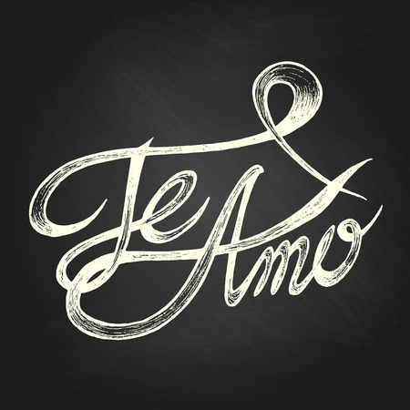 Te Amo   I love You   - Hand drawn quotes, white on blackboard