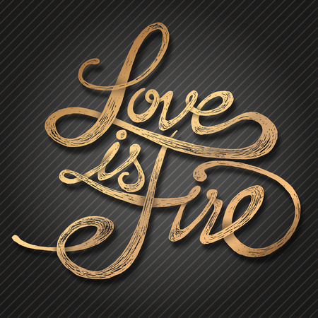 Love is fire - Hand drawn quotes, 3d gold on blackboard Vector